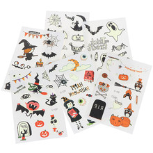 1 Sheet Halloween Luminous Tattoo Ghost Fake Tattoo Witch Glowing In Dark Waterproof Temporary Tattoo Stickers(China)