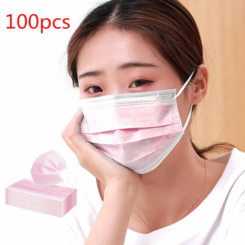 In Stock! 100 Pcs Pink Color Non-woven 3 Ply Disposable Face Mouth Masks Breathable Mask Elastic Ear Band Face Masks Mascarillas