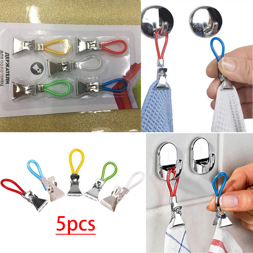 5 Pcs/Set Metal Towel Clip Bath Beach Towel Clips Plastic Color Rope Clip Home Daily Use
