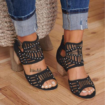 new fashion women shoes sandals luxury noble dress shoes party hot sale ankle high heel rhinestone cage vintage style gladiator Fashion New Style Sandals Women Vintage Hollow Out Peep Toe Square Heel Wedges Sandals High Heels Shoes Zapatos Mujer