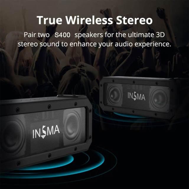 INSMA S400 PLUS 40W bluetooth Speaker NFC Portable Speakers IPX7 Waterproof Subwoofer Outdoor TWS Boombox Wireless Loudspeakers 4