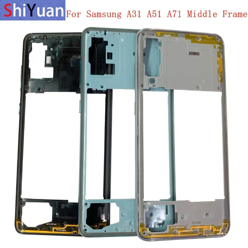 Корпус телефона средняя рамка для Samsung A71 A715 A51 A515 A31 A315 Центральная Крышка корпуса с кнопками Запасная часть