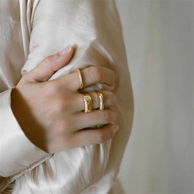 AOMU 2020 personnalité française couleur or géométrique carré en métal ouvert anneaux Design minimaliste bagues pour femmes filles bijoux