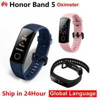 Originale Huawei Honor Fascia 5 4 Intelligente Wristband Ossimetro AMOLED Touch Screen a Colori di Nuotata Postura Rilevare 5ATM Impermeabile Honor Fascia