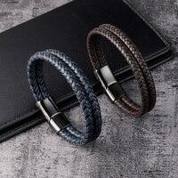 Pulsera de cuero genuino para hombre, cadena de cuerda negra y marrón, cierre de acero inoxidable, joyería Punk magnética, regalo genial