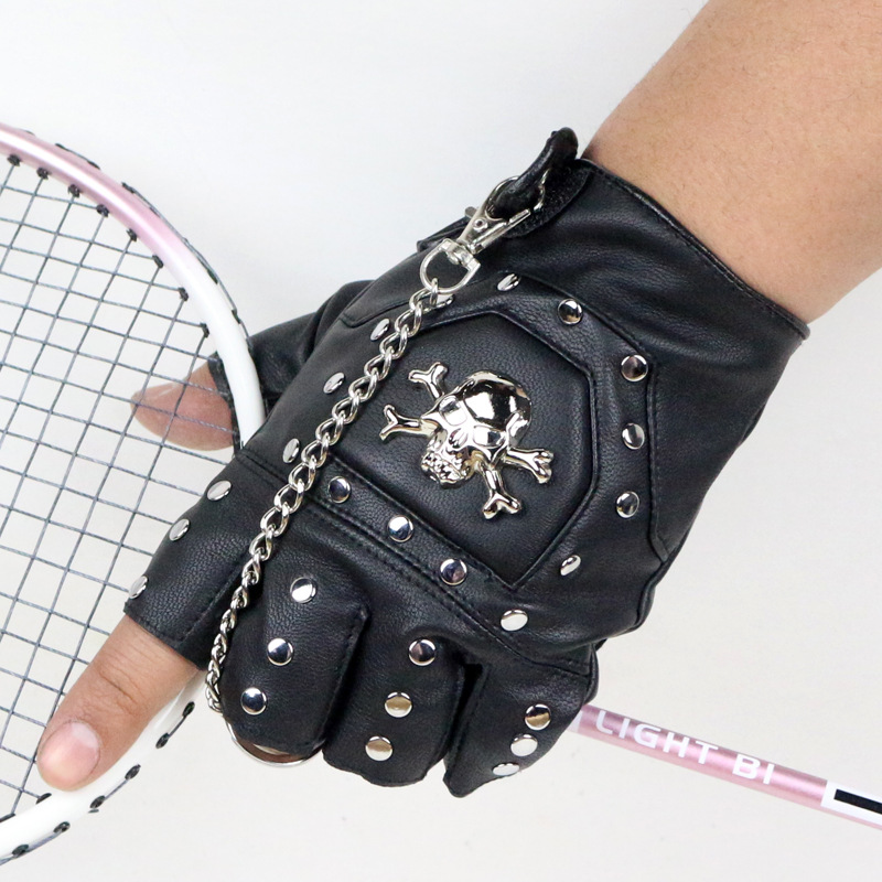 Skulls Rivet PU Leather Fingerless Gloves Men Women Fashion Hip Hop Women's Chain Punk Gloves Half Finger Men's Gloves