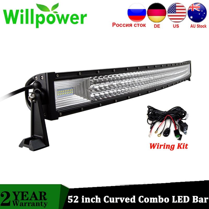 Willpower Super Bright 52 Inch 675W Tri Rows Curved LED Bar Combo Beam LED Driving Car Lights For Truck 4x4 4WD ATV UTV 12V 24V