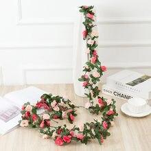 2.5m rosa artificial flor guirlanda branco para o casamento casa decoração do quarto primavera outono jardim arco decoração diy falso flores videira