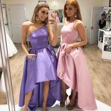 YiMinpwp High Low Bridesmaid Dresses One Shoulder Pockets Cr