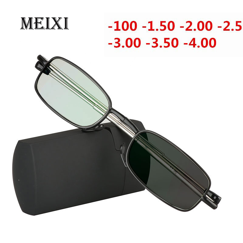 Folding Nearsighted Photochromic Glasses Ultralight Shortsighted Myopia Glasses Boxed  Women Men -1.0 -1.5 -2 -2.5 -3 -3.5 -4