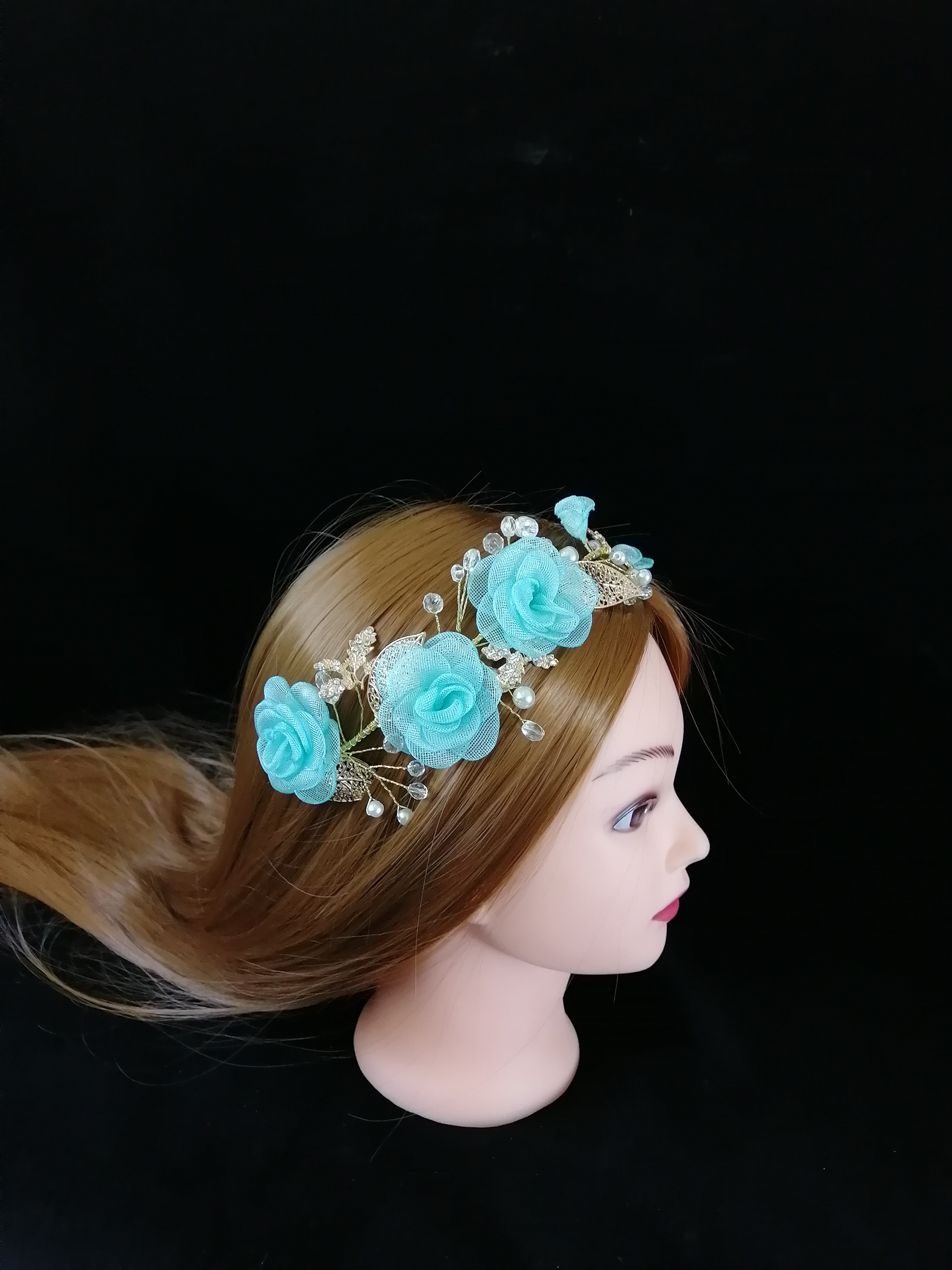 Hot Korean Luxury Sparkly Lake Blue 3D FLoral Hairband Bridal Wedding Rhinestone Tiara For Women Hair Comb Accessories Jewelry