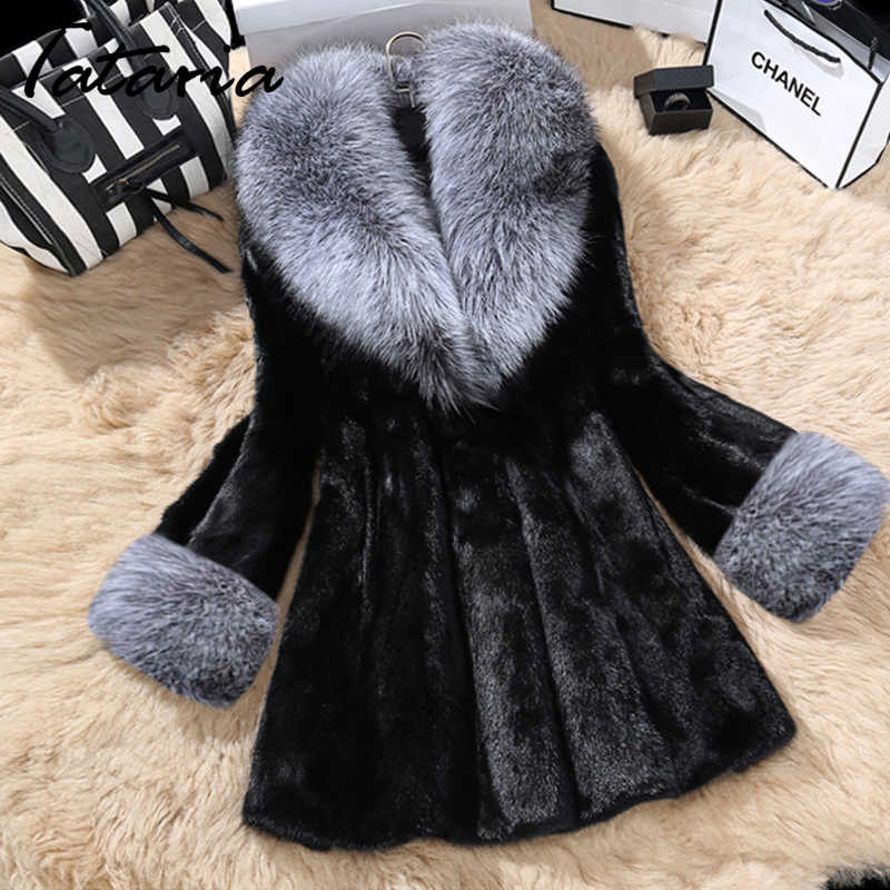 Tataria高品質のフェイクファーのコート女性フォックス毛皮の襟女性冬暖かい毛皮のコートの女性厚いカジュアル豪華なジャケット