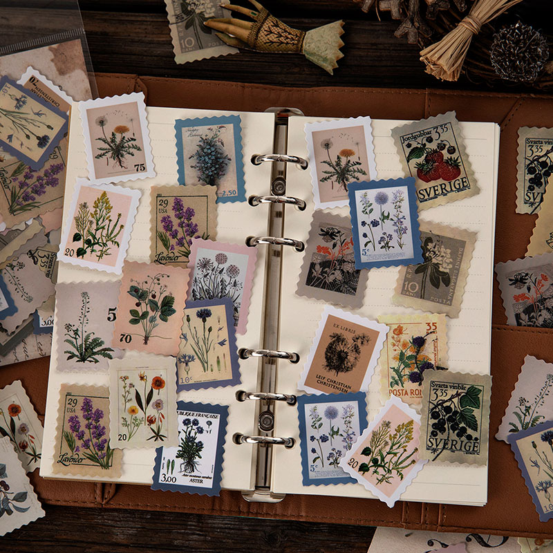 Philatelic Museum Series Journal Decorative Stickers Scrapbooking Stick Label Diary Album Stationery Retro stamp plant Sticker