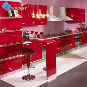 Image 1 - New Red Paint Waterproof DIY Decorative Film PVC Vinyl Self Adhesive Wallpaper Kitchen Cabinet Furniture Wall Sticker Home Decor