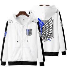 Japão anime ataque gigante hoodie 3d impressão masculina moda roupas de rua oversized moletom com zíper jaqueta harajuku pullover