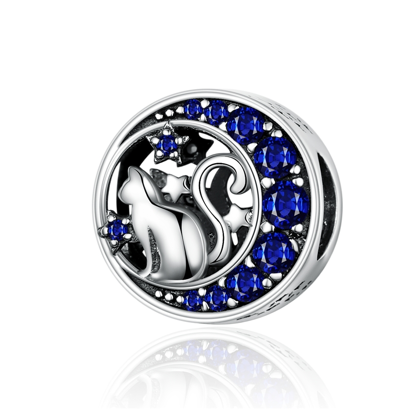 MOWIMO Moon Stars Long Tail Cat Beads 925 Sterling Silver Bead Fit Original Pandora DIY Bracelet Charms Jewelry Making BKC1204(China)