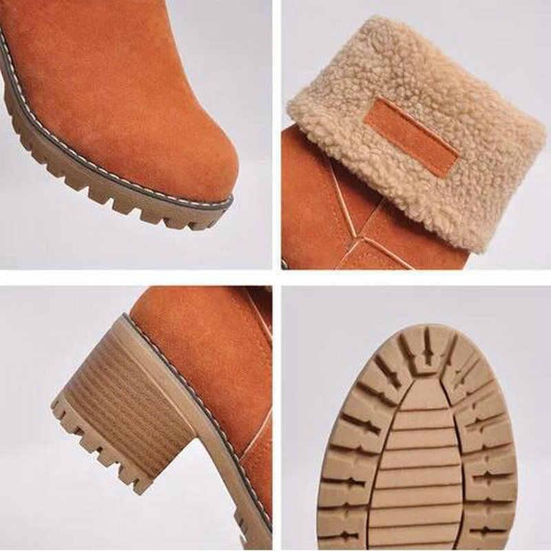 Mới Giày Bốt Nữ Mùa Đông Ngoài Trời Giữ Lông Ấm Áp Giày Nữ Chống Nước Ủng Dày Gót Có Vòng Đầu Ngắn khởi Động