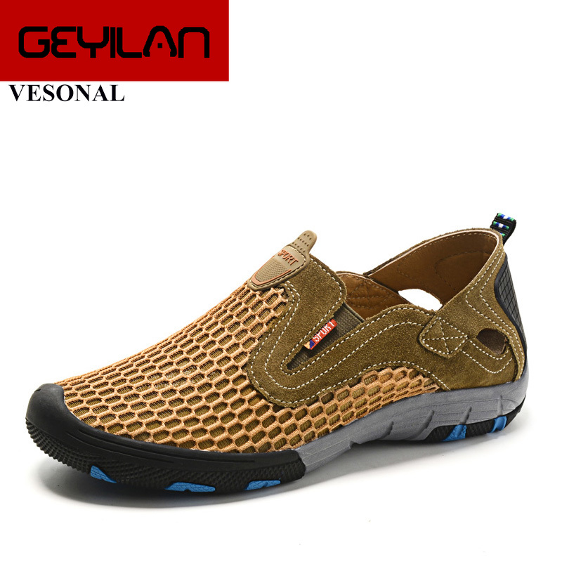 Summer Style Male Mesh Shoes For Men Adult Casual Breathable Light Quality Driving Walking Sneakers Slip On Footwear