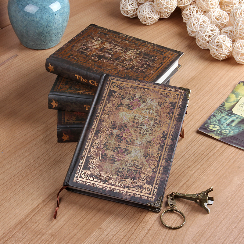 32K Retro Vintage Notebook Handcover Flower Europe Classic Book with Metal Corner Planner Journal Traveler Notepad