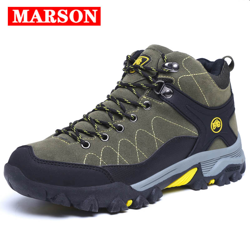 MARSON Men Snow Boots Winter Plush Keep Warm Shoes Male Casual Sneakers Outdoor Hiking Shoes Men's Non-Slip Big Size Ski Shoes