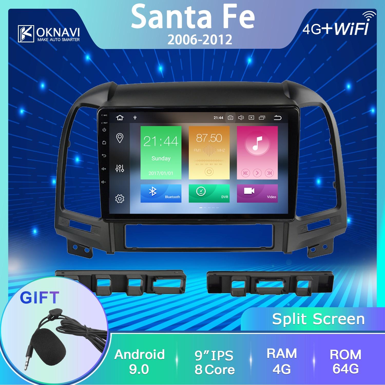 OKNAVI Hyundai Santa Fe 2006-2008 için 2009 2010 2011 2012 araba radyo multimedya Video oynatıcı GPS navigasyon Android 9.0 hiçbir 2 Din