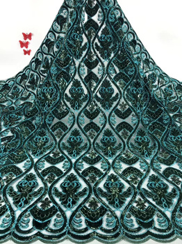 7colors High quality green African velvet French net lace fabric with sequins and shining embroidery for party dress  FCC072