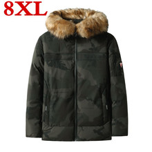 Plus size 8XL 7XL 6XL Winter Coat Men Windbreaker Fur Hooded Thicken Jacket Men's Streetwear Hiphop Military Trench Coats Parka(China)