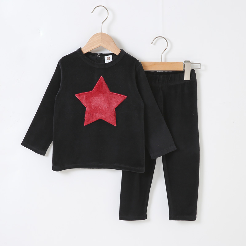 2019-baby-clothes-long-top-and-pant-set-children-casual-set-with-star-and-heart-patches-kids-clothes-black-color-fashion-clothes