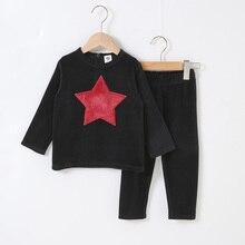 2020 bébé vêtements haut long et pantalon ensemble enfants ensemble décontracté avec étoiles et coeur patchs enfants vêtements couleur noire vêtements de mode