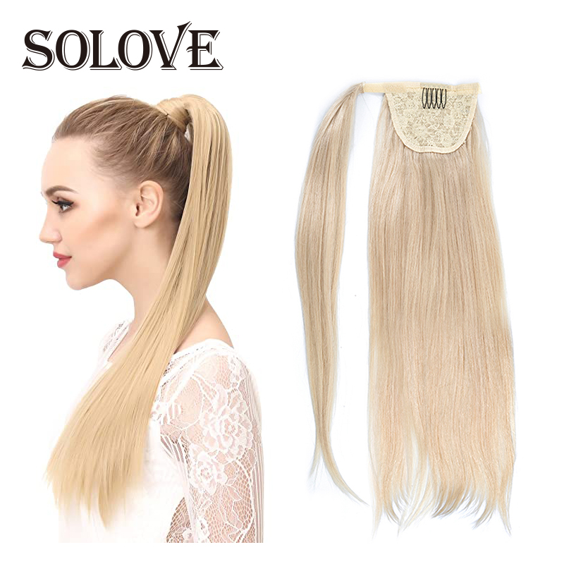 60G Human Hair Ponytail European Straight  Wrap Around Clip In Pony Tail Machine Remy Hair 12-24 Inches