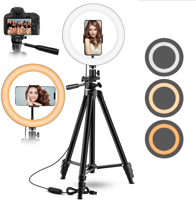 Anillo de luz LED regulable para selfis, lámpara de anillo con trípode para cámara de teléfono, maquillaje, vídeo en vivo, Tik Tok