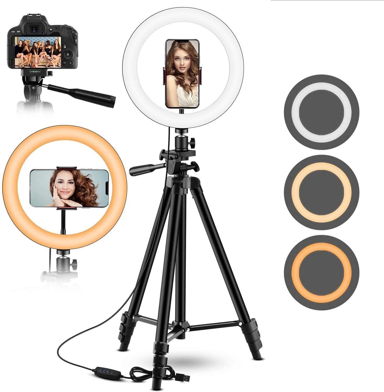 Dimmerabile LED Selfie Ring Fill Light Phone Camera Led Ring Lamp con treppiede per trucco Video Live Ringlight Tik Tok
