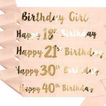1 pçs 16th 21st 30th 40th 50th 60th adulto aniversário menina mulher feliz aniversário cetim sash favores aniversário decoração suprimentos