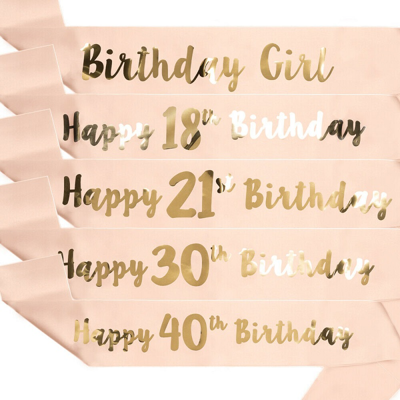 1Pcs 16th 21st 30th 40th <font><b>50th</b></font> 60th Adult <font><b>Birthday</b></font> Girl Women Happy <font><b>Birthday</b></font> Satin Sash Favors Anniversary Decoration Supplies image
