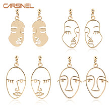 CARSINEL Brand Trendy Gold color Face Dangle Earrings For Women Girls Earrings Fashion Hollow Jewelry Pendientes ER0724(China)
