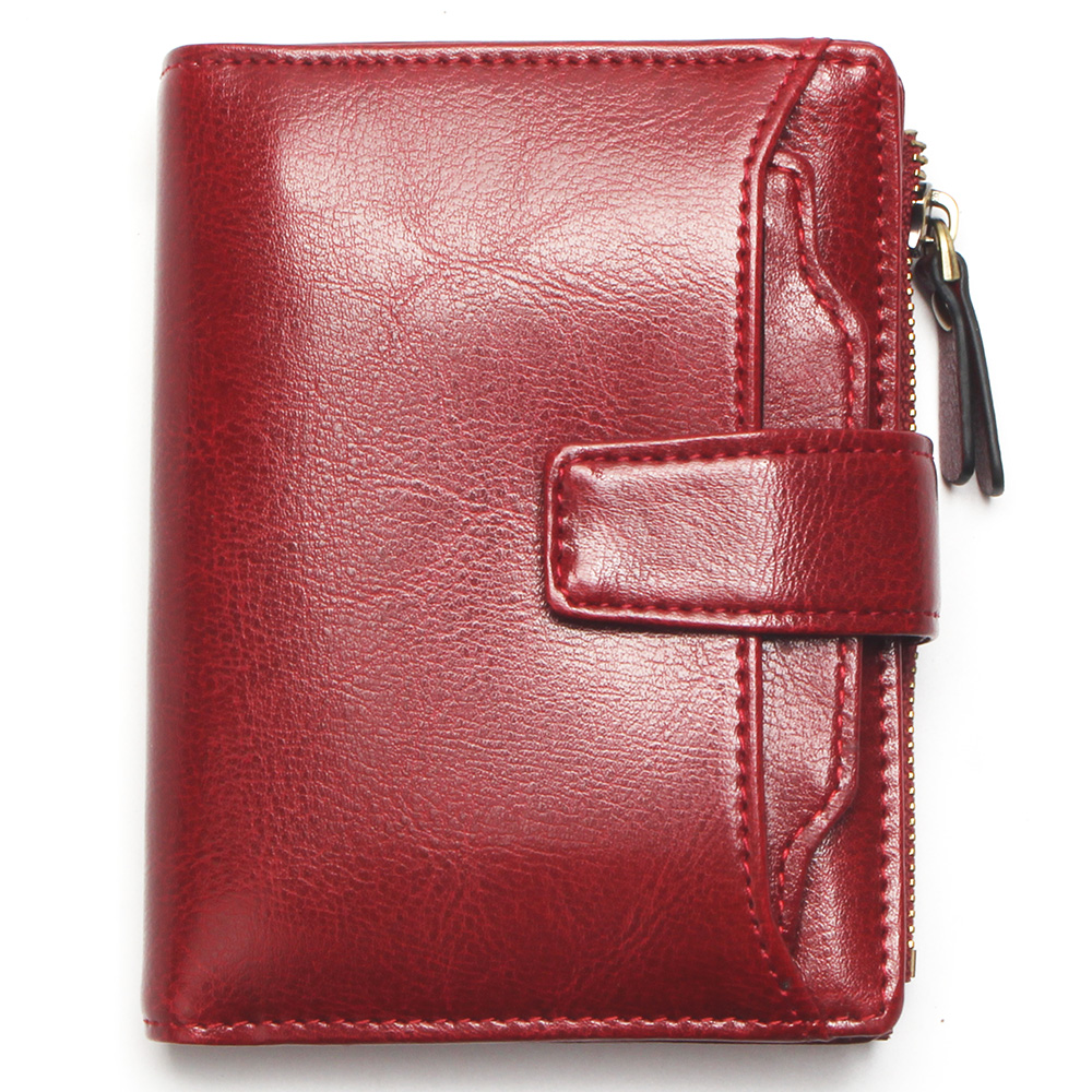 Lady Fashion Oil Waxed Wallet Smooth And Soft 100% Genuine Leather Wallet Red Multi-Function Card Holder Women's Wallet
