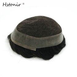 Hstonir, 100%, cabello Natural Remy, encaje suizo y PU, sistemas de repuesto de cabello para hombres, tupé puro hecho a mano, Australia H036