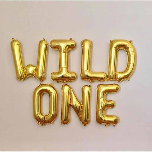 1 комплект 16 дюймов розовое золото дикий один/один фольги воздушный шар для Бэйби Шауэр 1th День Рождения декоративные шары Дети один год Globos