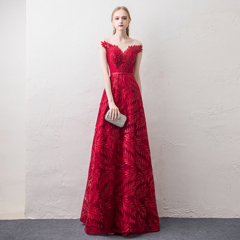 Elegant Luxury Beads Red Sequined Evening Dresses 2019 Long A Line Sleeveless V Neck Formal Occasion Party Prom Women Dresses