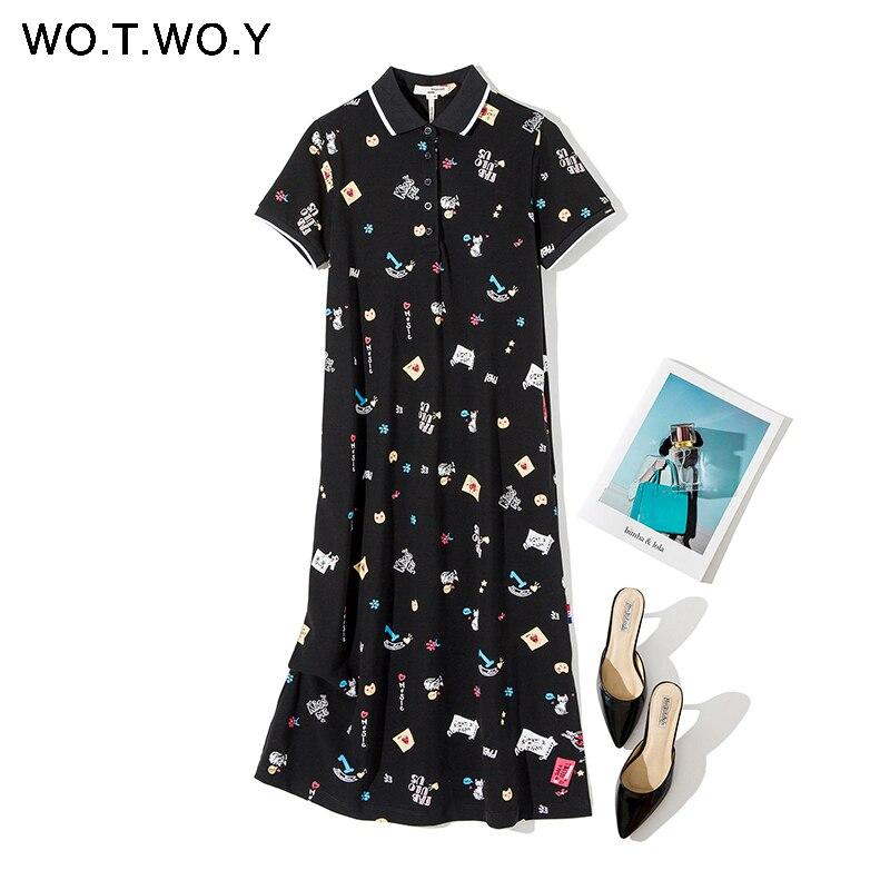 WOTWOY Spring Summer Knit Dress Woman 2020 Cartoon Printing Turn Down Collar Mid-Calf Women Dresses Casual Button Women Clothes