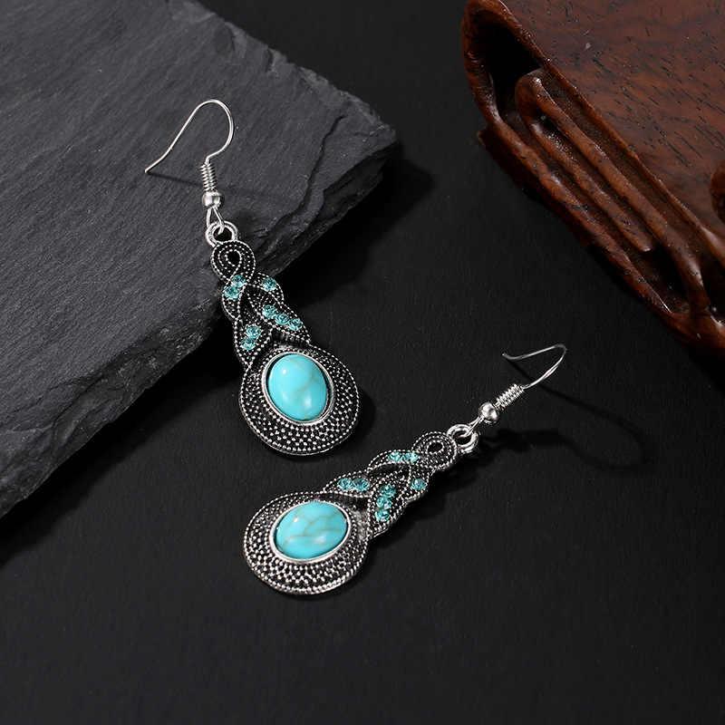 Vintage bohemio pendientes de gota de agua para mujer gancho de oreja étnica antigua plata gran cuenta pendientes colgantes joyería étnica de moda