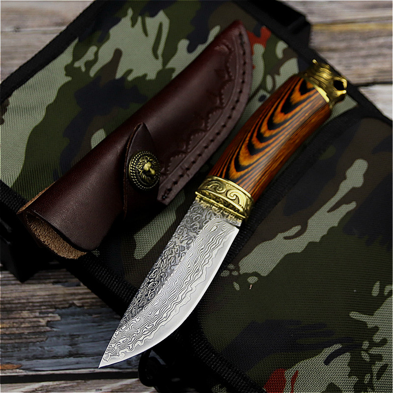 PEGASI Japanese Damascus steel tactical <font><b>knife</b></font>, hunting <font><b>knife</b></font> <font><b>wilderness</b></font> camping rescue straight <font><b>knife</b></font> + suitcase image