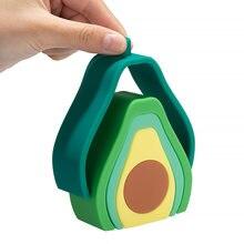 Tyry. hu 5 pc/set cartoon abacate silicone jenga bpa-livre bebê mordedor 3d dobrável bloco de construção brinquedos educativos