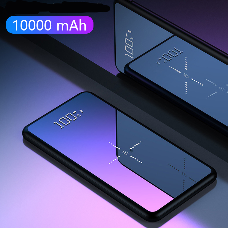 Ultra Thin Universal Mobile Tablet Charger <font><b>10000</b></font> <font><b>mAh</b></font> Power Bank External <font><b>Battery</b></font> <font><b>Pack</b></font> Full Mirror Screen Powerbank USB Charger image