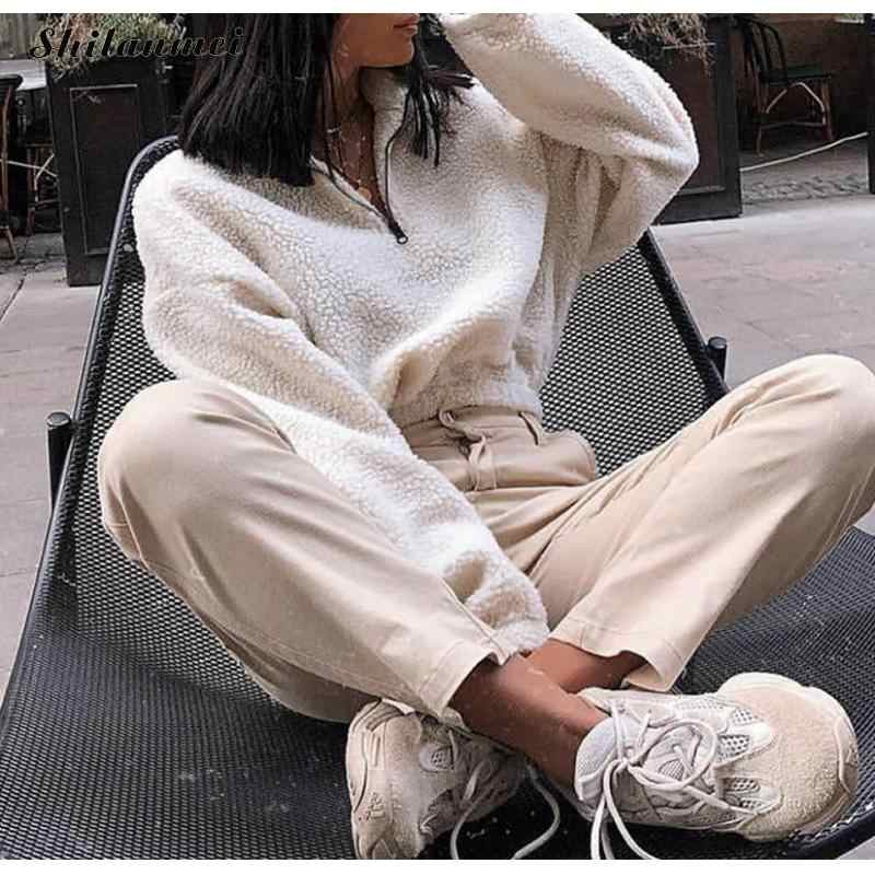 Loose High Street Female Fall Coat 2019 Autumn Winter Casual Fleece Women Sweatshirts Long Sleeve Solid Girl Pullovers