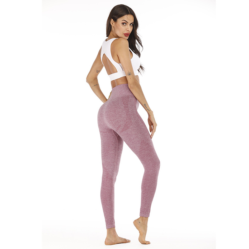 Купить с кэшбэком New Style Hip Lifting Seamless Yoga Pants Jacquard Dot High Waist Quick Drying Fitness Pants Sports Leggings for Women