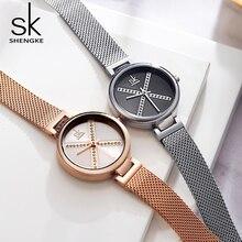 Shengke 크리스탈 시계 여성 방수 로즈 골드 스틸 스트랩 숙녀 손목 시계 톱 브랜드 Meshband 시계 Relogio Feminino