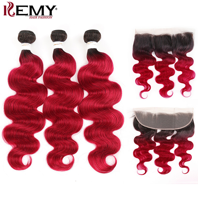 99J/Burgundy Ombre Bundles With Frontal KEMY HAIR Brazilian Body Wave Human Hair Bundles With Closure Non Remy Hair Extension