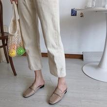 Лето осень женщины сандалии свободного покроя низкая-на высоком каблуке мода квадратных ног плоские сандалии Корея стиль сандалии обувь простые обувь