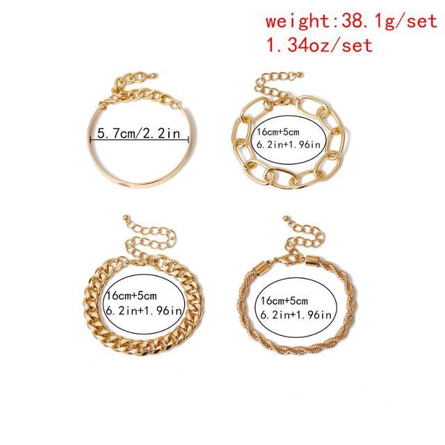 Vintage Snake Chain Bracelets Set for Women Men Beach Boho Fashion Thick Iron Twisted Link Bracelet Bangles Punk Hand Jewelry